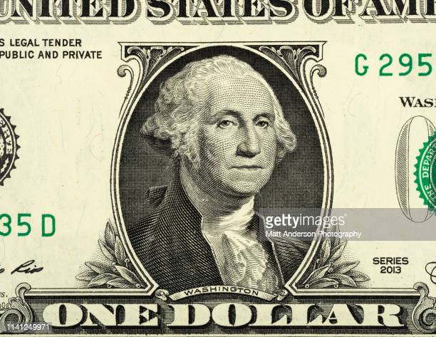 us currency one dollar bill close up view - george washington bildbanksfoton och bilder