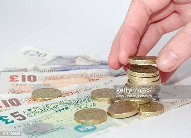 UK currency. Pound notes and coins