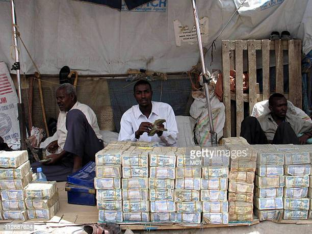 Currency traders work in the marketplace in Hargeisa capital of the breakaway region of Somaliland an oasis of stability in the Horn of Africa