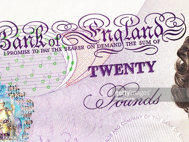 UK currency, twenty pound banknote, close-up