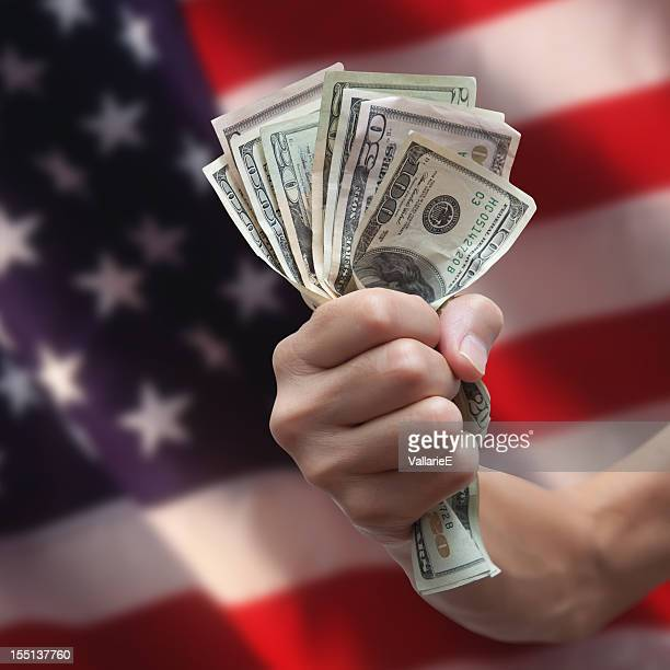 US Currency with American Flag