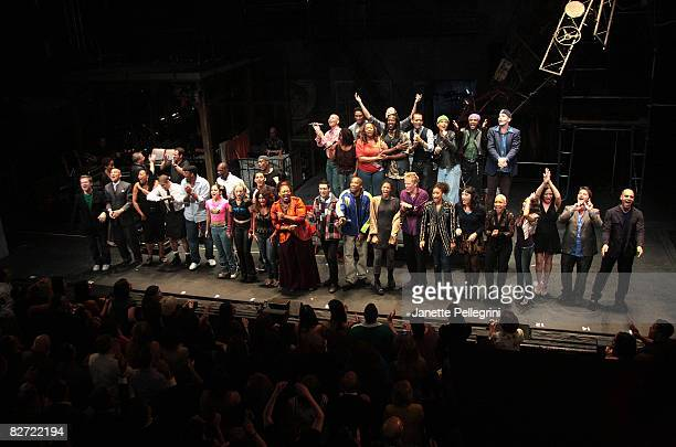 Current and former cast members attend curtain call on the closing night of 'RENT' on Broadway at the Nederlander Theatre on September 7 2008 in New...