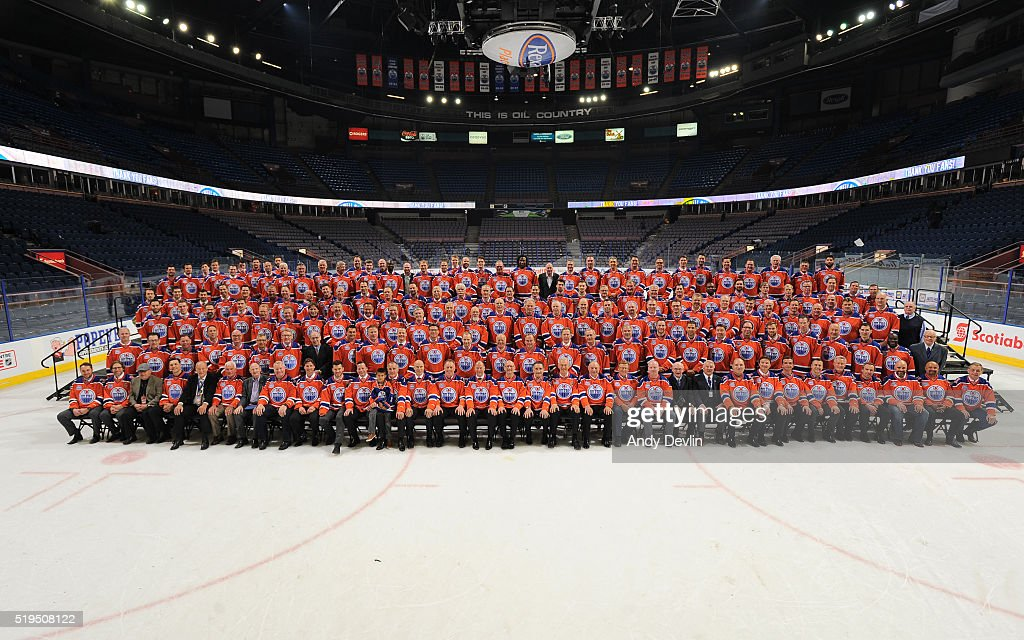 Current and former players of the Edmonton Oilers pose for a group photo following the Farewell to Rexall Place ceremony following the game against the Vancouver Canucks on April 6, 2016 at Rexall Place in Edmonton, Alberta, Canada.