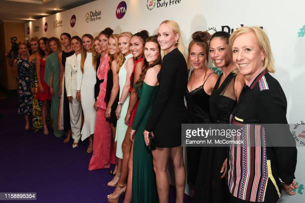 Current and former players pose for a photo during the Dubai Duty Free WTA Summer Party 2019 at Jumeirah Carlton Tower on June 28 2019 in London...