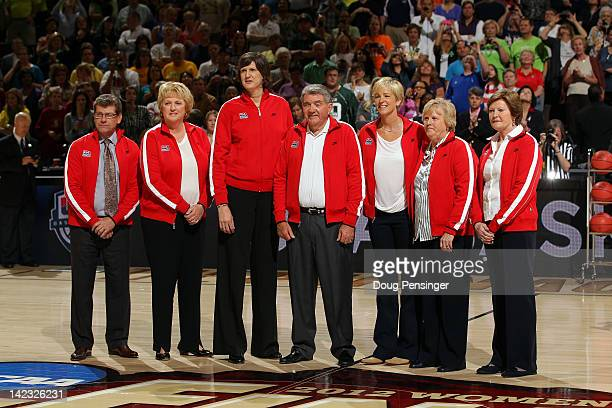 Current and former USA Basketball Women's team head coaches Geno Auriemma Theresa Grentz Anne Donovan Van Chancellor Nell Fortner Billie Moore and...