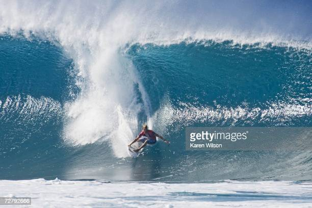 Current ASP world number two Mick Fanning of Australia places third in this round one heat at the Rip Curl Pro Pipeline Masters December 10 2006 in...