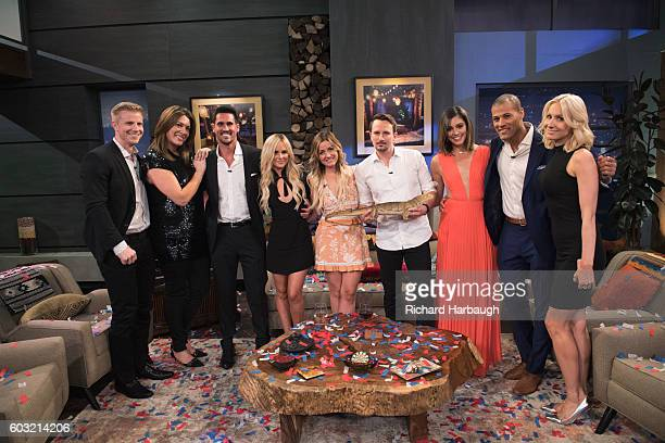 PARADISE Current Bachelor in Paradise contestants Josh Amanda Carly Evan Jen Grant and Lace are panelists on the season finale of Walt Disney...