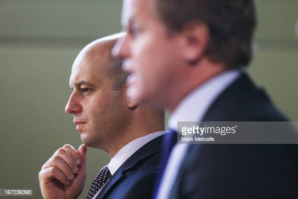 Current Bulldogs CEO Todd Greenberg looks on as NRL CEO David Smith speaks to the media during an NRL press conference to announce structural changes...
