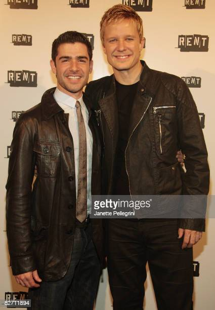 Current cast members Adam Kantor and Will Chase attends the closing night party of 'RENT' on Broadway at Chelsea Piers on September 7 2008 in New...
