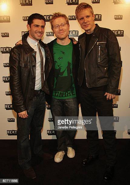 Current cast members Adam Kantor and Will Chase with original cast member Anthony Rapp attend the closing night party of 'RENT' on Broadway at...