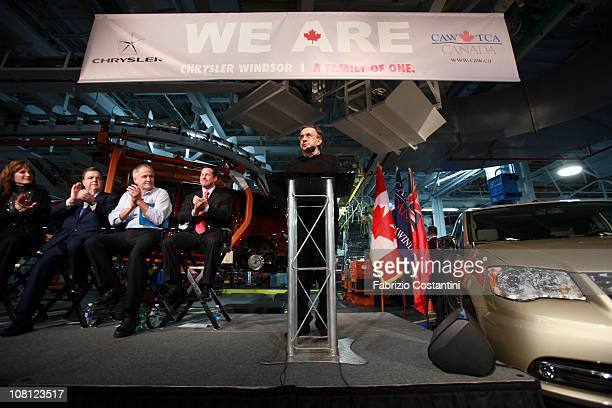 Current CEO of Fiat SpA and Chrysler Group LLC Sergio Marchionne speaks at a press conference on the factory floor of the Chrysler Windsor Assembly...