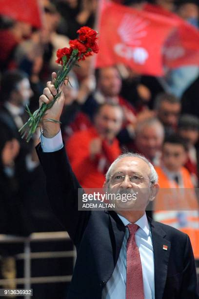 Current Chairman of Turkey's main opposition Republican People's Party Kemal Kilicdaroglu greets people as he arrives to attend the Party's 36th...