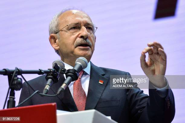 Current Chairman of Turkey's main opposition Republican People's Party Kemal Kilicdaroglu delivers a speech during the Party's 36th ordinary congress...