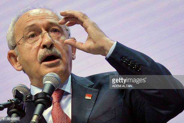 Current Chairman of Turkey's main opposition Republican People's Party Kemal Kilicdaroglu gestures as he delivers a speech during the Party's 36th...