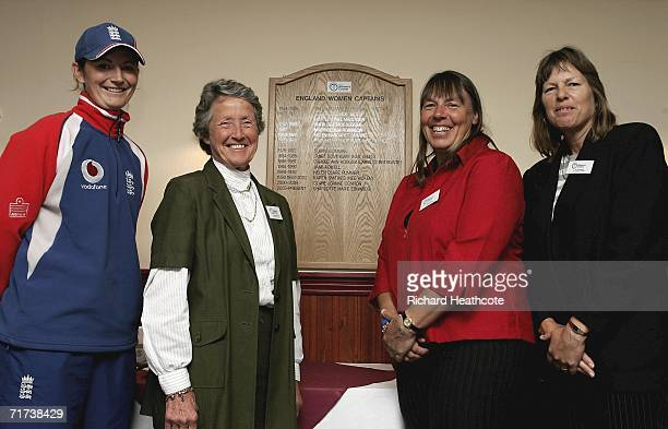 Current England Captain Charlotte Edwards and ExCaptains Rachel HeyhoeFlint Jane Powell and Janet Southgate during the launch of Taunton as the home...