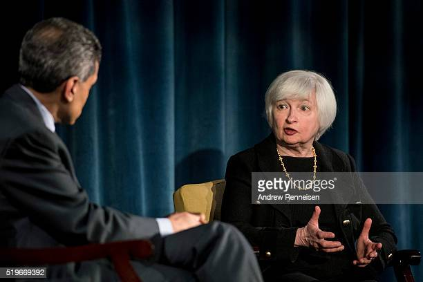 Current Federal Reserve Chair Janet Yellen speaks with panel moderator Fareed Zakaria during a conversation with former Federal Reserve Chairs Ben...