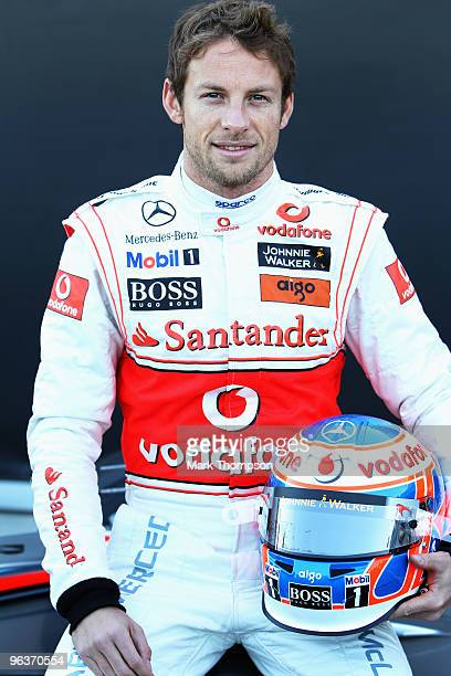 Current Formula One World Champion Jenson Button of Great Britain and McLaren Mercedes faces the media as he prepares to drive for his new team for...