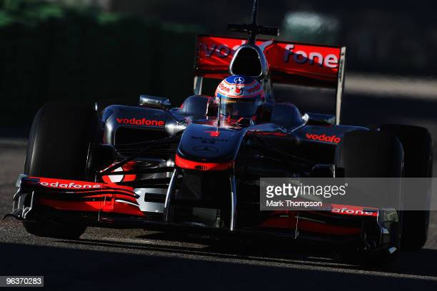 Current Formula One World Champion number 1, Jenson Button of Great Britain and McLaren Mercedes, drives the MP4-25 for the first time during winter...