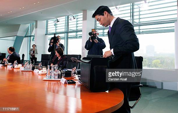 Current German Health Minister and leading member of the German Free Democrats political party Philipp Roesler arrives for the weekly German...