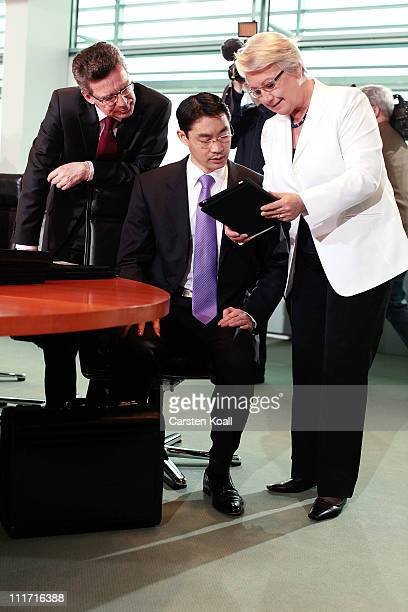 Current German Health Minister and leading member of the German Free Democrats political party Philipp Roesler speaks with German Defense Minister...