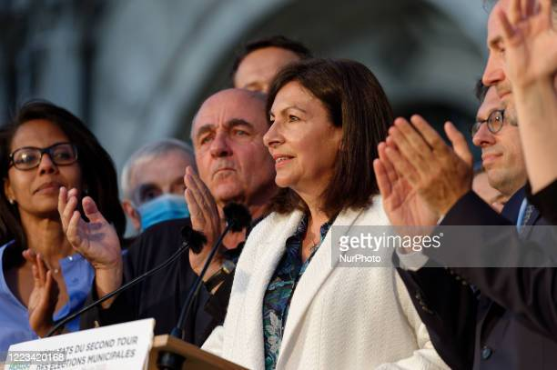 Current Mayor of Paris Anne Hidalgo thanks the electors after the convincing victory of his party in the municipal elections on June 29 in Paris...