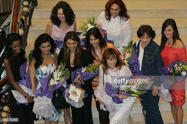 Current Miss World Maria Julia Mantilla Garcia poses with former Miss Worlds Agbani Darego, Miss World 2001, Wilnelia Merced, Miss World 1975, Julia...