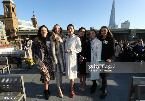 Current Miss World Vanessa Ponce from Mexico poses with Miss World 2019 contestants Miss Northern Ireland Lauren Leckey Miss Wales Gabriella Jukes...