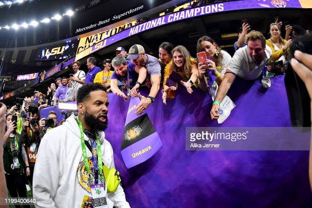 Current NFL player, and former LSU Tiger, Odell Beckham Jr., is pumped after the College Football Playoff National Championship game against the...