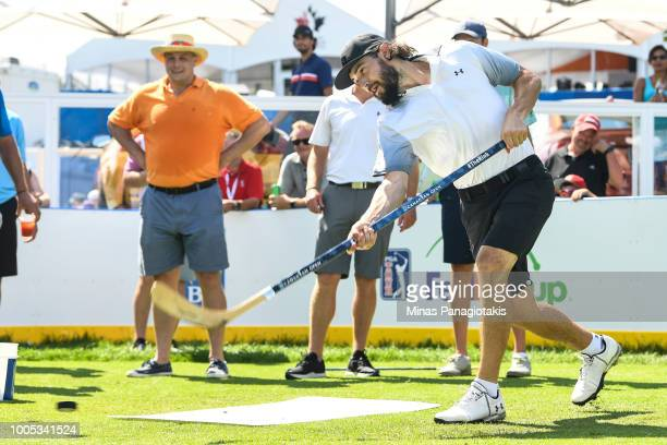 Current NHL hockey player with the Los Angeles Kings Drew Doughty shoots the puck during the practice rounds at the RBC Canadian Open at Glen Abbey...