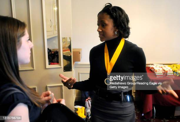 Current Pennsylvania Outstanding Young Woman Diamante White of Reading greets Bradford/Sullivan County representative Catherine Morelli.Contestants...