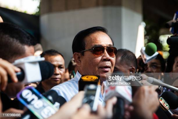 Current Prime Minister General Prayuth Chanocha talks to the press after voting on March 24 2019 in Bangkok Thailand This is Thailand's first...