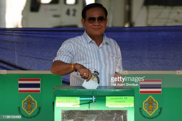 Current Prime Minister General Prayuth Chanocha votes on March 24 2019 in Bangkok Thailand Around 50 million voters headed to the polls in Thailand...