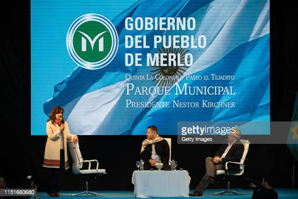Current senator and former President Cristina Fernandez Gustavo Menéndez and candidate for president Alberto Fernandez gather over the stage during...
