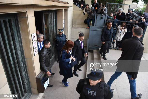 Current Senator and former President of Argentina Cristina Fernandez leaves federal court during the first day of the socalled Vialidad corruption...