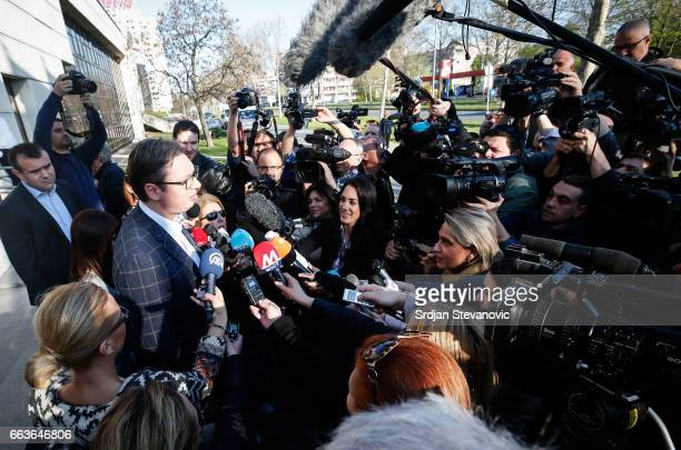 Current Serbian Prime Minister and presidential candidate Aleksandar Vucic speaks to media after voted at a polling station on April 2 2017 in...
