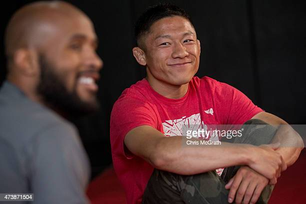Current UFC Flyweight Champion Demetrious Johnson and Japanese Flyweight, UFC fighter Kyoji Horiguchi talk to the media during a press conference at...