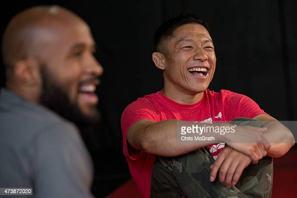 Current UFC Flyweight Champion Demetrious Johnson and Japanese Flyweight UFC fighter Kyoji Horiguchi talk to the media during a press conference at...