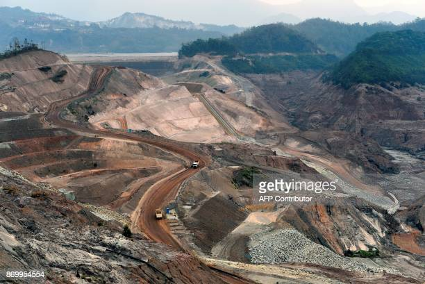 Current view of Fundao dam, Samarco's iron ore waste dam in Mariana, Minas Gerais state, Brazil on October 23, 2017. Next November 5 marks the second...
