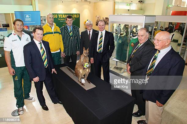 Current Wallaby players Scott Higginbotham and Nathan Sharpe with 2011 ARU Classic Wallaby Statesmen Elton Flatley Tim Gavin Terry Curley Simon...