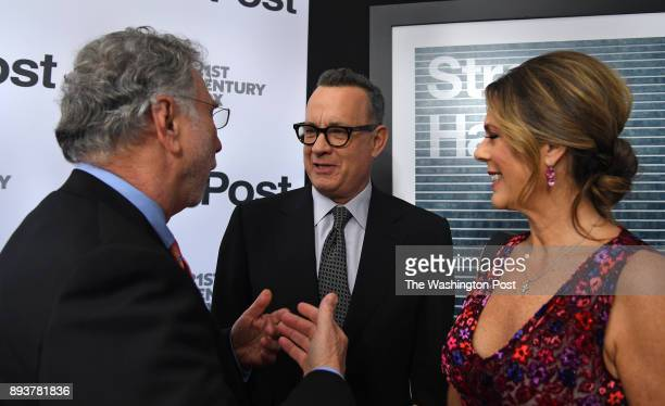 Current Washington Post editor Marty Baron chats with actor Tom Hanks and Rita Wilson The world premiere of the movie 'The Post' took place at the...