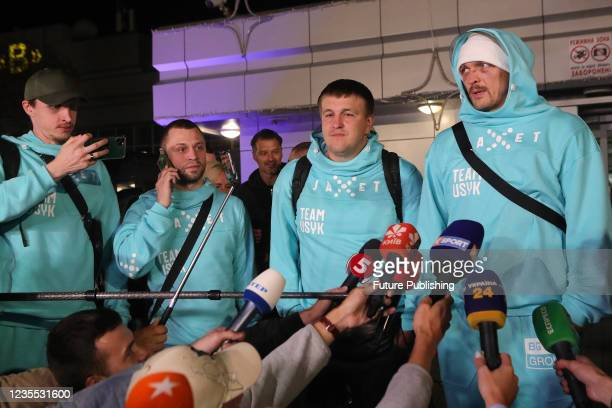Current WBA, WBO, IBF and IBO world heavyweight champion Oleksandr Usyk speaks to the press at Boryspil International Airport following a UD win over...