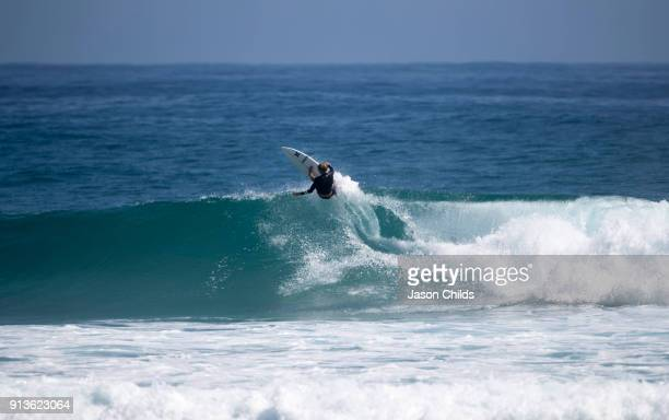 Current world champion surfer John John Florence from Hawaii tearing up the waves among the hordes of surfers at Snapper Rocks ahead of the upcoming...