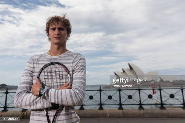 Current world number four Alex Zverev is pictured during the Sydney Fast4 Media Opportunity at Hickson Road Reserve on January 8 2018 in Sydney...