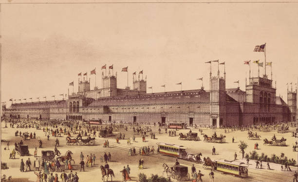 A Currier and Ives lithograph showing the Main Building...