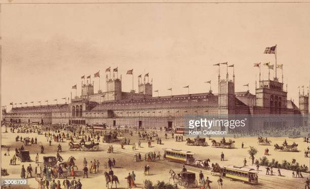 A Currier and Ives lithograph showing the Main Building of the Grand United States Centennial Exhibition at Fairmount Park Philadelphia Pennsylvania...