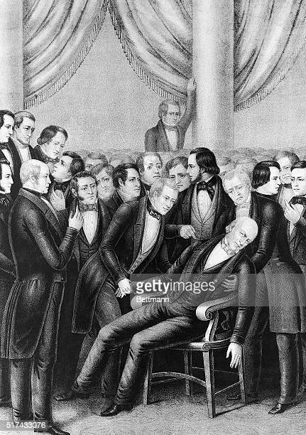 A Currier Ives lithograph depicting John Quincy Adams dying in Congress February 21 while attending a meeting of the Senate He was the only US...