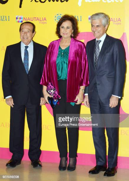 Curro Romero Carmen Tello and Adolfo Suarez Illana attends the 'Premio Taurino ABC' awards at the ABC Library on February 20 2018 in Madrid Spain