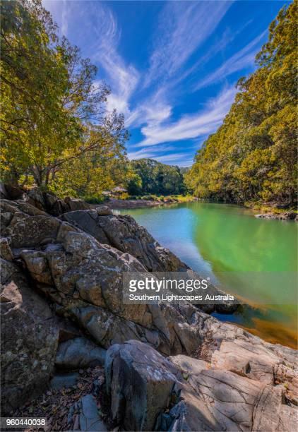 currumbin valley creek rock-pools, gold coast, queensland, australia. - non urban scene stock pictures, royalty-free photos & images