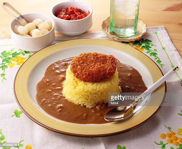Curry and rice with croquette