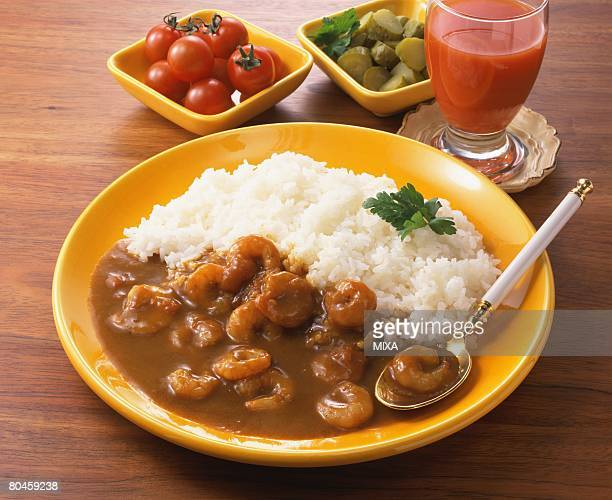 Curry and rice with shrimps